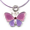 Pink Enamel Butterfly Choker Necklace