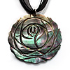 Black Romantic Rose Shell Organza Cord Pendant Necklace