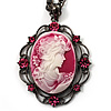 Pink Crystal Cameo 'Lady With Flowers' Oval Pendant (Black Tone)