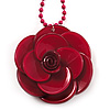 Crimson Acrylic Rose Pendant - 42cm