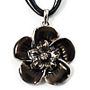 Black Grey Cotton Cord Enamel Daisy Pendant