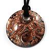 Glittering Gold Glass Medallion Suede Cord Pendant - 42cm