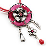Bright Pink Enamel Flower Pendant With Faux Suede Cord Necklace (Silver Tone) - 40cm Length