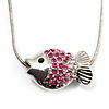 Tiny Crystal Reversible Fish Pendant With Snake Chain - 38cm Length
