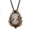 Dusty Pink Crystal Cameo 'Lady With Rose Flower' Oval Pendant (Bronze Tone)