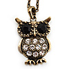 Long Vintage Bronze Tone Crystal Owl Pendant Necklace -70cm Length