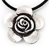 Burn Silver Rose Flower Pendant On Leather Cord - 40cm Length