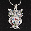 Wise Multicoloured Diamante Owl Pendant Necklace In Rhodium Plated Metal - 42cm Length