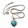 Small Turquoise Stone Heart Pendant Necklace In Silver Tone Metal - 38cm Length With 5cm Extension