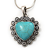 Turquoise Style Heart Pendant Necklace In Silver Tone Metal - 40cm Length With 5cm Extension