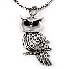 Long Filigree Owl Pendant Necklace In Burn Silver Metal - 66cm length