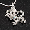Crystal 'Puppy' Pendant Necklace In Silver Plated Metal - 42cm Length