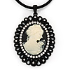 Large Diamante 'Classic Cameo' Pendant On Velour Cord Choker Necklace - 36cm Length & 6cm Extension