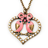 Pink Enamel &#039;Love Birds&#039; Pendant Necklace In Bronze Tone Metal - 74cm Length