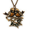 Vintage 'Love Birds' Pendant Necklace In Antique Gold Finish - 46cm Length (6cm extension)