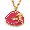 'Skull & Lips' Diamante Enamel Pendant Necklace In Gold Plated Metal - 70cm Length (8cm extension)