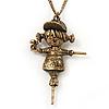 Bronze Metal 'Scarecrow' Pendant Necklace - 70cm Length (6cm extension)