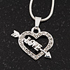 Small Diamante Open 'Heart & Love Arrow' Pendant Necklace In Rhodium Plated Metal - 40cm Length & 4cm Extension