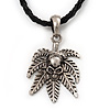 Silver Tone 'Skull on a Hemp Leaf' Pendant Black Leather Style Cord Necklace - 40cm Length & 4cm Extension