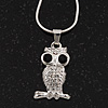Tiny Crystal 'Owl' Pendant Necklace In Rhodium Plated Metal - 40cm Length & 4cm Extension
