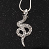 Small Crystal &#039;Snake&#039; Pendant Necklace In Rhodium Plated Metal - 40cm Length &amp; 4cm Extension