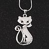 Rhodium Plated Diamante 'Cat' Pendant Necklace - 40cm Length & 4cm Extension