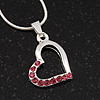 Small Pink Crystal Open Heart Pendant Necklace In Rhodium Plated Metal - 40cm Length & 4cm Extension
