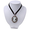 Victorian Style &#039;Cameo&#039; Pendant On Black Velour Cord Choker Necklace In Silver Tone - 35cm Length (8cm extension)