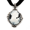 Victorian Style Crystal &#039;Cameo&#039; Pendant On Black Velour Cord Choker Necklace In Silver Tone - 35cm Length (8cm extension)