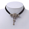 Vintage Diamante &#039;Rose&#039; Choker Necklace On Black Velour Cord In Silver Finish - 29cm Length with 8cm extension
