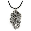 Burn Silver Large Diamante 'Feather' Pendant On Black Leather Cord Necklace - 38cm Length/ 7cm Extension