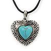 Burn Silver Turquoise Stone 'Heart' Pendant On Black Cotton Cord Necklace - 40cm Length/ 7cm Extension