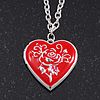 Silver Plated Red &#039;Heart&#039; Locket Pendant Necklace - 44cm Length/ 4cm Extension