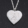 Silver Plated White 'Heart' Locket Pendant Necklace - 44cm Length/ 4cm Extension