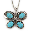 Turquoise Style 'Butterfly' Pendant Necklace In Silver Plating - 68cm Length