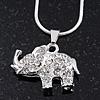 Silver Plated Diamante 'Elephant' Pendant Necklace - 40cm Length