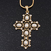 Simulated Pearl and Swarovski crystal 'Vaticana' Statement Cross Pendant and Chain (Gold Plating) - 36cm Length/ 8cm Extension