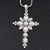 Simulated Pearl and CZ 'Fleur de Lis' Statement Cross Pendant Necklace In Silver Plating - 38cm Length/ 8cm Extension