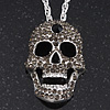 Long Dim Grey Swarovski Crystal 'Skull' Pendant In Rhodium Plating - 74cm Length/ 10cm Extension