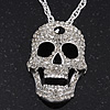 Long Clear Swarovski Crystal &#039;Skull&#039; Pendant In Rhodium Plating - 74cm Length/ 10cm Extension
