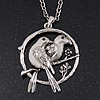 Burn Silver 'Love Birds' Pendant Necklace - 62cm Length/ 4cm Extension