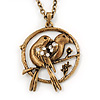 Burn Gold 'Love Birds' Pendant Necklace - 62cm Length/ 4cm Extension