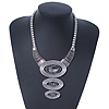 Solid Chunky Glass 'Triple Oval' Bib Necklace In Rhodium Plating - 34cm Length/ 7cm Extension