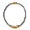 Two Tone Mesh Magnetic Choker Necklace - 36cm Length
