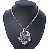 Vintage Hammered 'Flower' Pendant Necklace In Burn Silver Finish - 40cm Length/ 7cm Extender