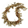 Chunky Multistrand Twisted Bead & Zipper, Chain Necklace In Gold Plating - 46cm Length/ 6cm Extension