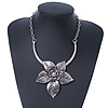 Large Textured 'Flower' Pendant Ethnic Necklace In Burn Silver Metal - 38cm Length/ 6cm Extender