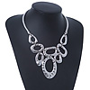 Ethnic Geometric Hammered Bib Necklace In Silver Plating - 36cm Length/ 4cm Extender