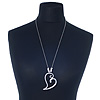 Hammered Silver Plated 'Be Mine' Long Open Heart Pendant on Bead Chain - 72cm (7cm extension)