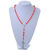 Long Neon Orange Bead Cross Rosary Necklace - 80cm Length